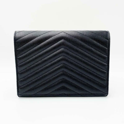 Saint Laurent Envelope Clutch Monogram Black Leather Wristlet