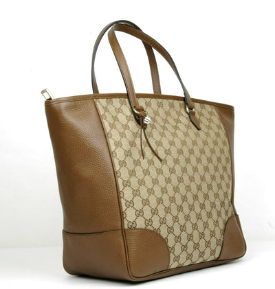 Gucci Large Bree Beige/Ebony GG Canvas Leather Tote Bag w/charm