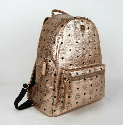 MCM Champagne Gold Coated Canvas Medium Backpack