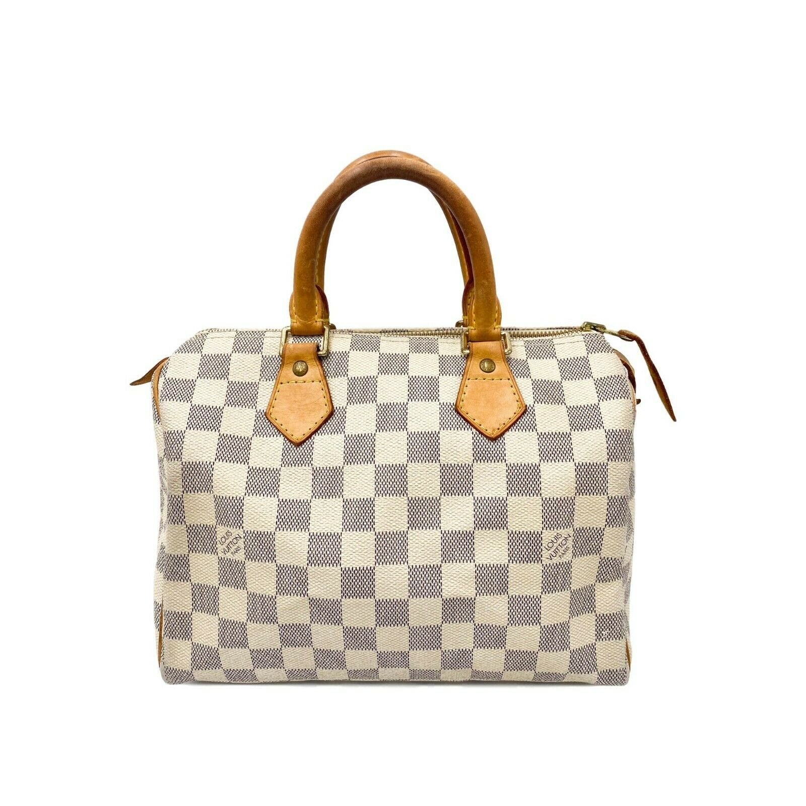Louis Vuitton Speedy Damier Azur 25 White Canvas Satchel Doctor