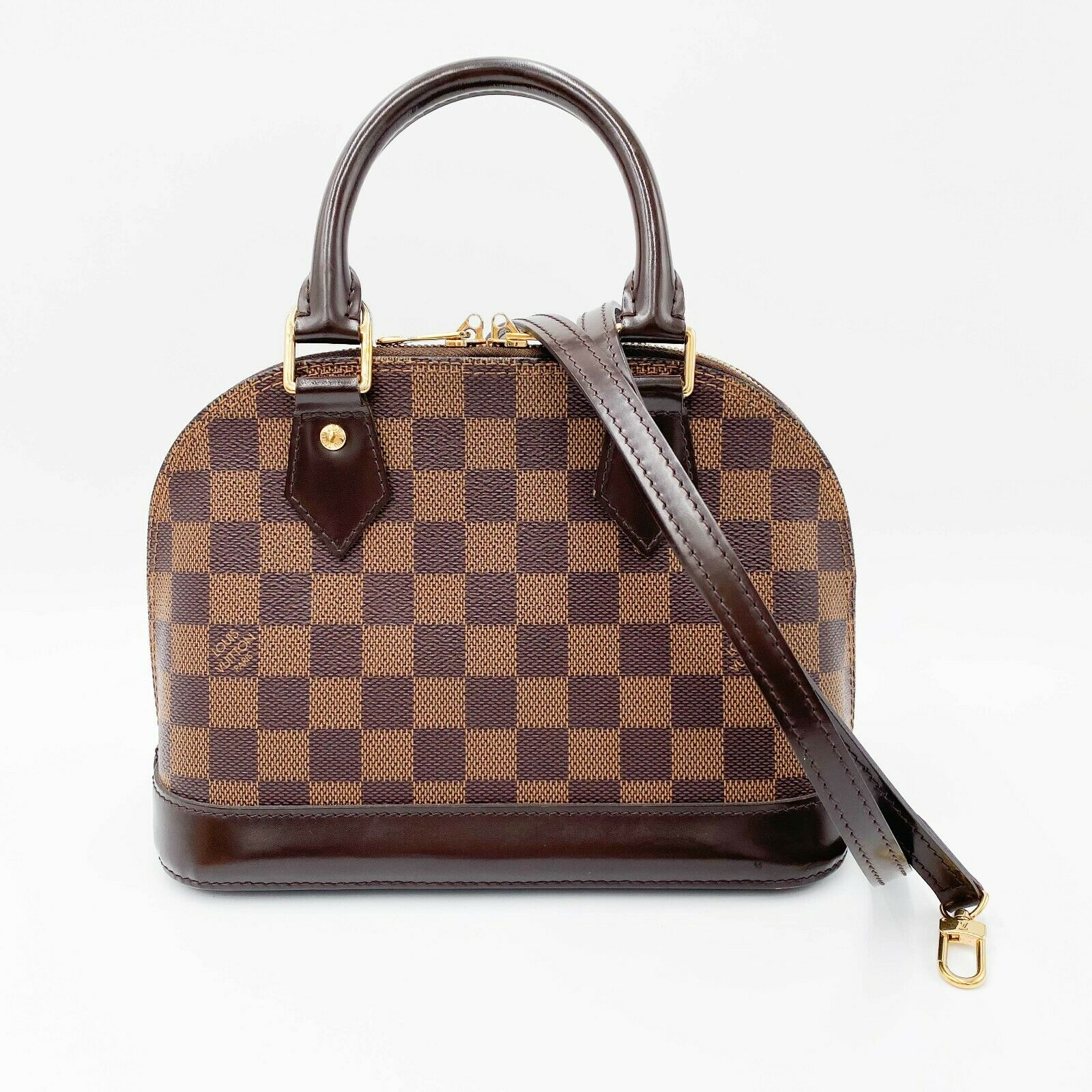 Louis Vuitton Alma Bb Brown Damier Ébène Canvas Shoulder Bag $1800 Crossbody