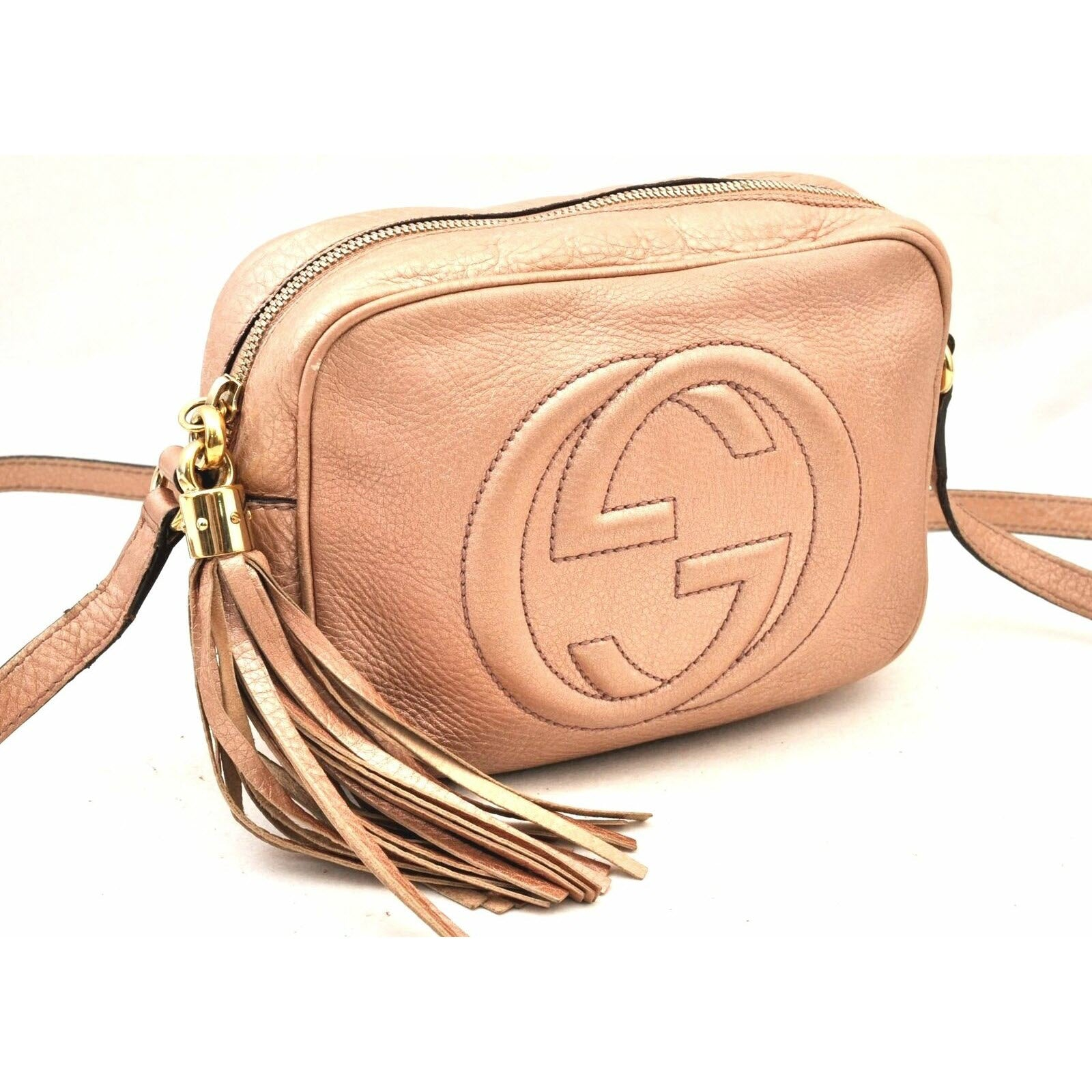 Gucci Soho Disco Pebbled Calfskin Small Pink Leather Cross Body Bag