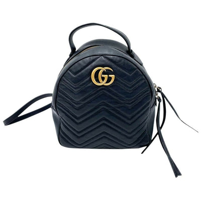 Gucci GG Marmont Calfskin Matelasse Black Leather Backpack
