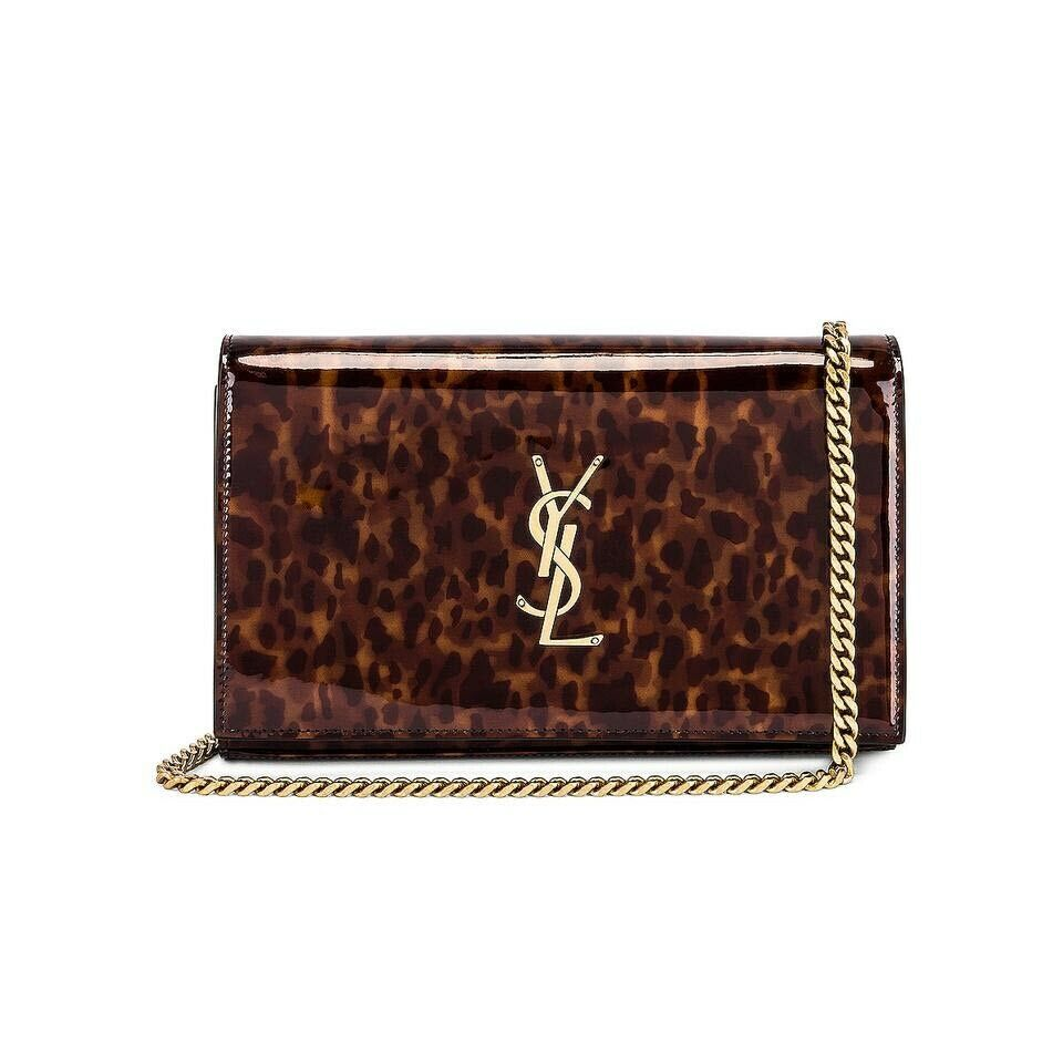 Saint Laurent WOC Monogram Kate Tortoise Cross Body Brown Patent Leather