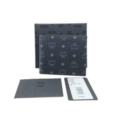 MCM Black Small Flap Bifold Canvas Claus Bi-fold Wallet