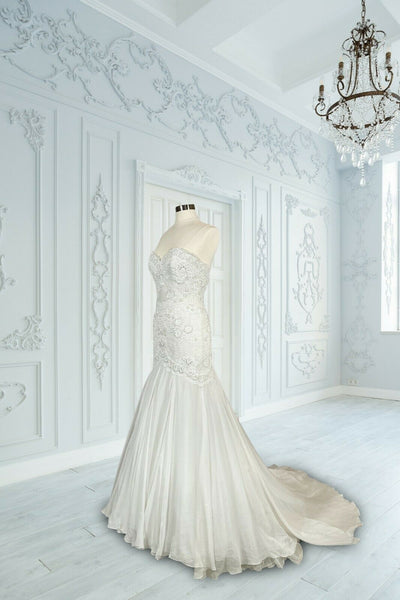 Watters Bridal White Silk Chiffon Minerva Embellished Mermaid Gown $4610