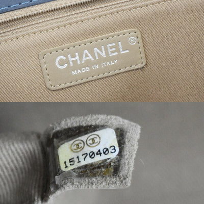 CHANEL CC Logo Quilted Chain Shoulder Bag Leather Blue