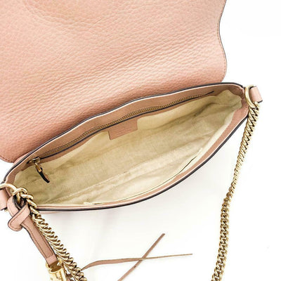 Gucci Crossbody Soho Pebbled Calfskin Medium Camelia Beige Leather Shoulder Bag