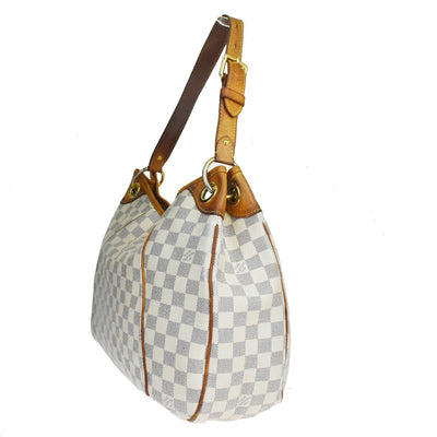 LOUIS VUITTON Galliera PM Shoulder Bag Damier Azur Leather