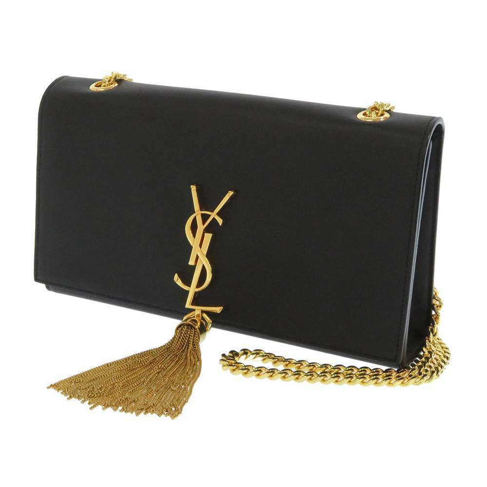 SAINT LAURENT PARIS Classic Kate Leather Black Chain Shoulder Bag Tassel