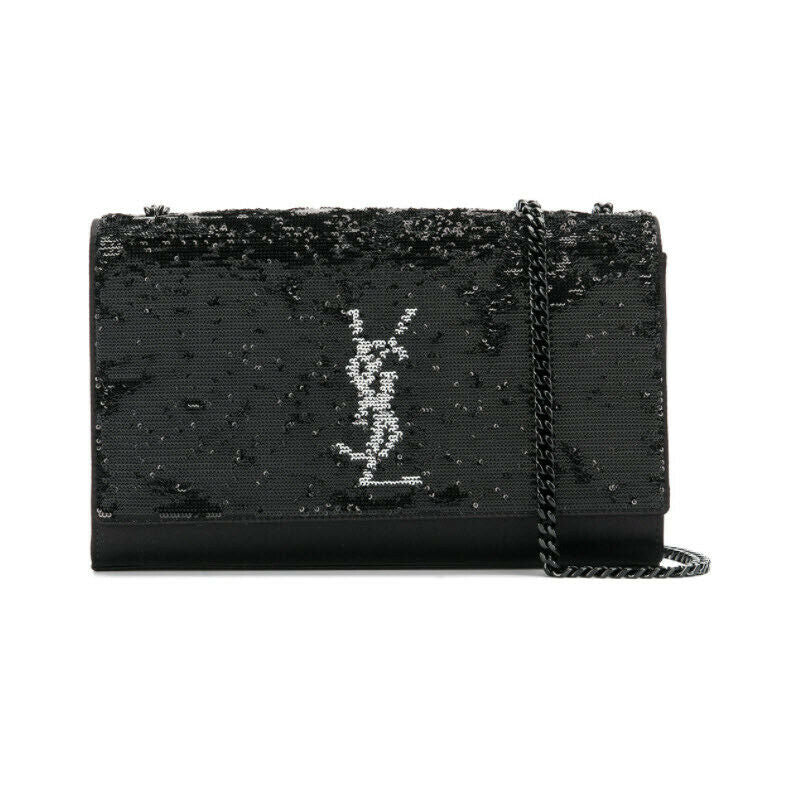 Saint Laurent Monogram Kate Crossbody Sequin Flip Black Satin Shoulder Bag