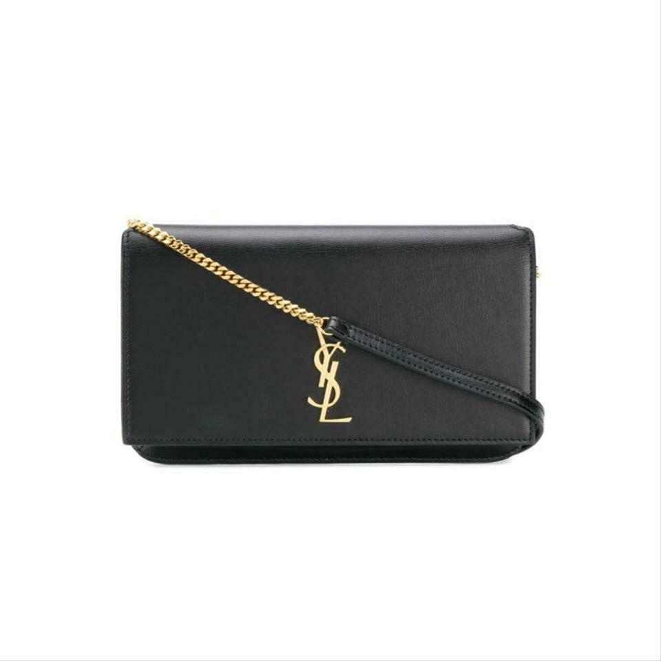 Saint Laurent Chain Wallet Mini Monogram Cell Phone Black Leather Shoulder Bag