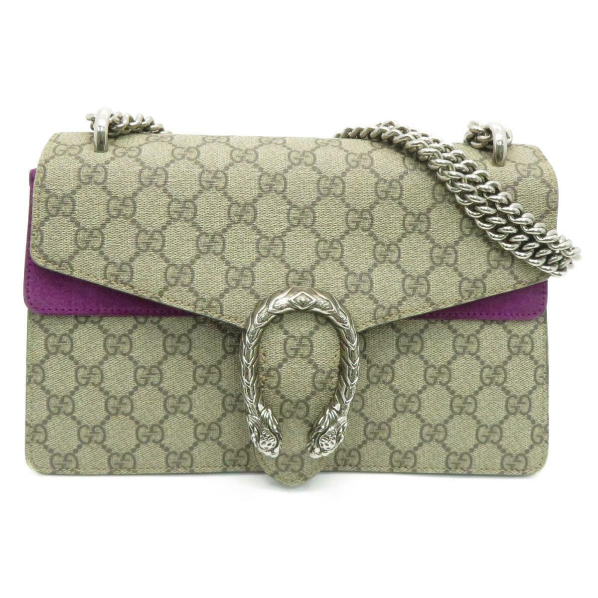 Gucci GG Supreme Dionysus Small Shoulder Handbag Beige Purple