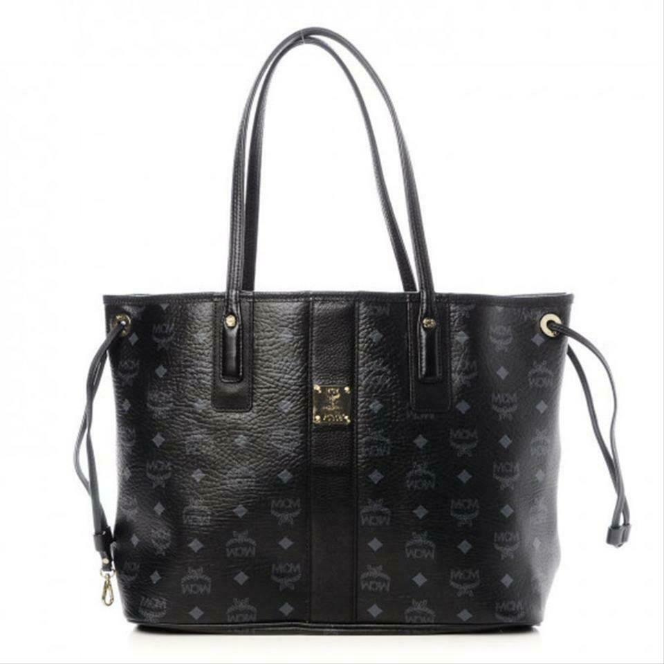 MCM Visetos Medium Liz Reversible Shopper Black Leather Tote