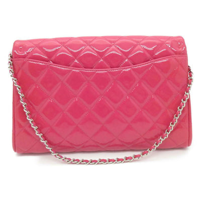 CHANEL Patent Quilted Clutch with Chain Flap Pink