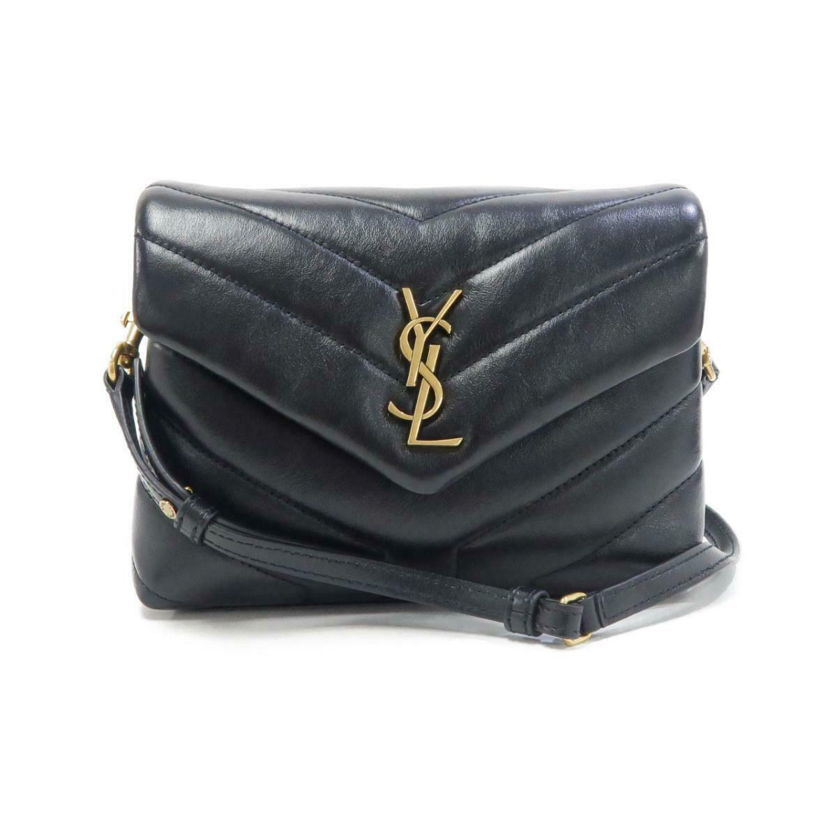 Saint Laurent Calfskin Y Quilted Monogram Toy Loulou Crossbody Bag Black