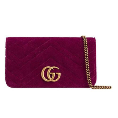 Gucci Chain Wallet Marmont Mini Macro Fuschia Pink Velvet Cross Body Bag