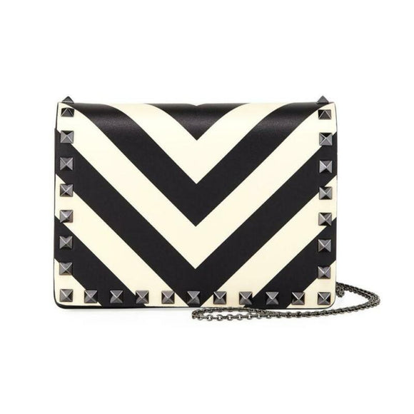 Valentino Garavani Rockstud V-stripe Pouch Chain Black Leather Cross Body Bag