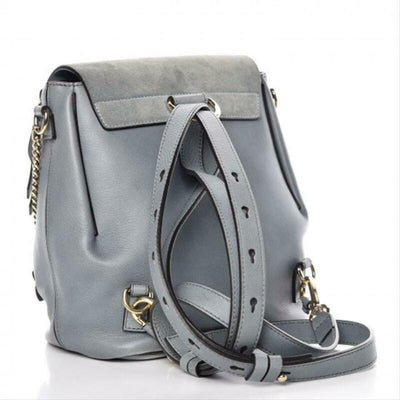 Chloé Faye Suede Calfskin Small Cloudy Blue Leather Backpack