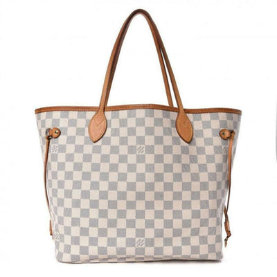 Louis Vuitton Neverfull Mm with Pouch White Damier Azur Canvas Tote
