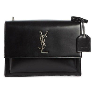 Saint Laurent Monogram Sunset Medium Braided Strap Black Leather Shoulder Bag