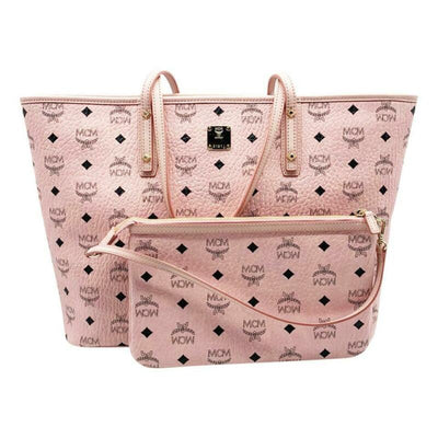 MCM Medium Anya Diamond Visetos Shopper Pale Light Pink Coated Canvas Tote