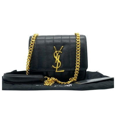 Saint Laurent Vicky Monogramme Black Calfskin Leather Shoulder Bag