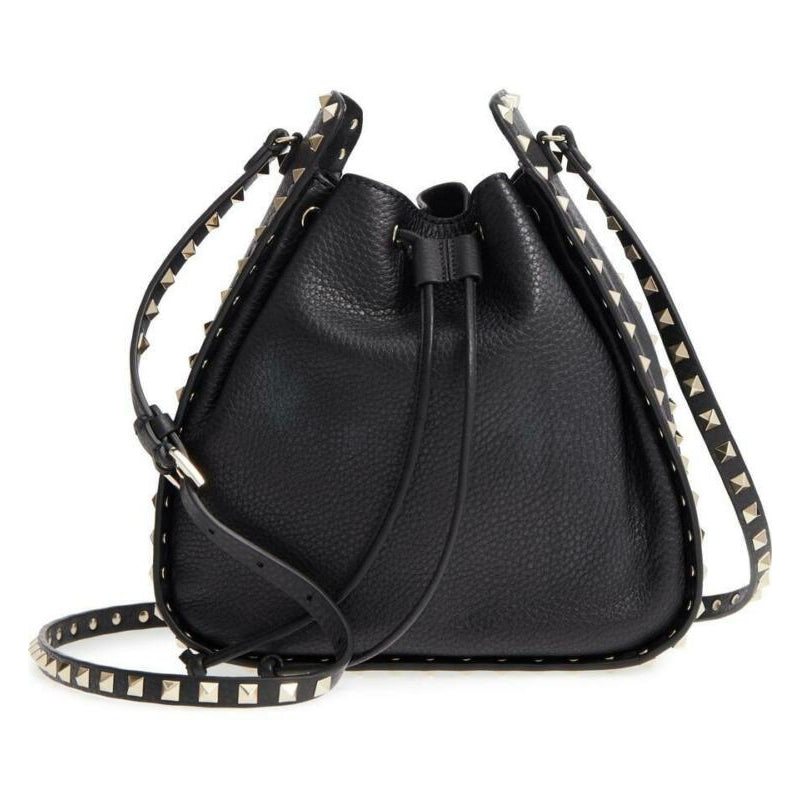 Valentino Bucket Rockstud Large Black Leather Cross Body Bag