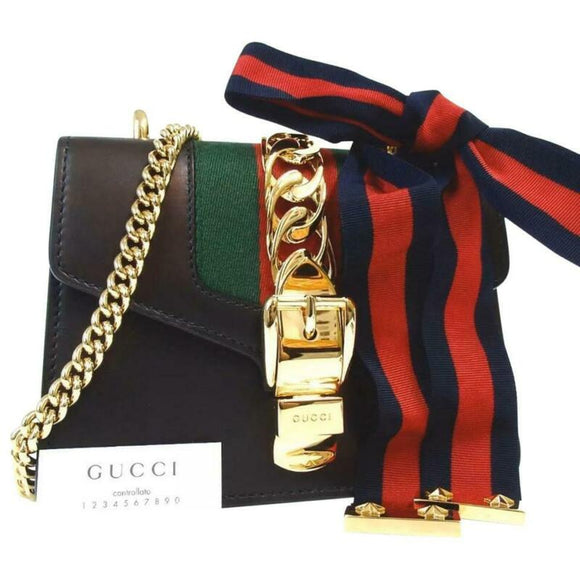 Gucci Shoulder Sylvie Chain Black Leather Cross Body Bag