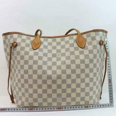Louis Vuitton Neverfull Mm White Damier Azur Canvas Tote