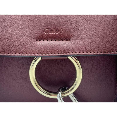 Chloé Faye Daye Mini Leather/Suede Red Leather Shoulder Bag