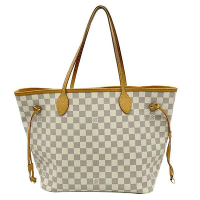 Louis Vuitton Neverfull Mm Rose Ballerine White Damier Azur Canvas Tote