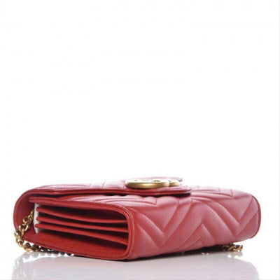 Gucci Chain Wallet Marmont Calfskin Matelasse Gg Red Leather Cross Body Bag