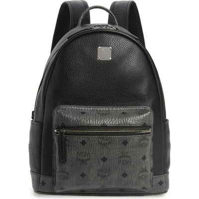 MCM Small Visetos Canvas Black Leather Backpack