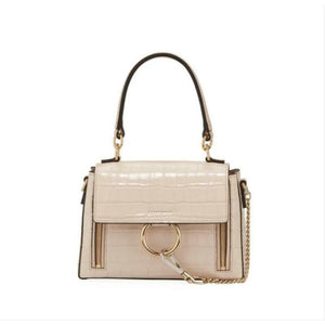 Chloé Shoulder Faye Day Small Croc-embossed Pink