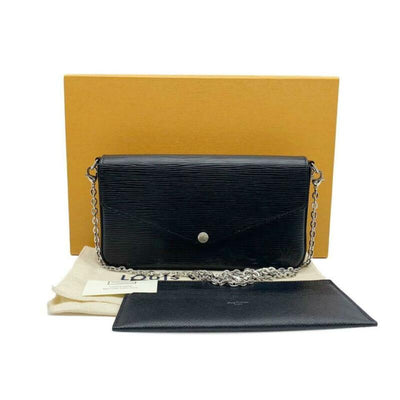 Louis Vuitton Pochette Felicie With Chain and Card Case Noir Black Epi Leather