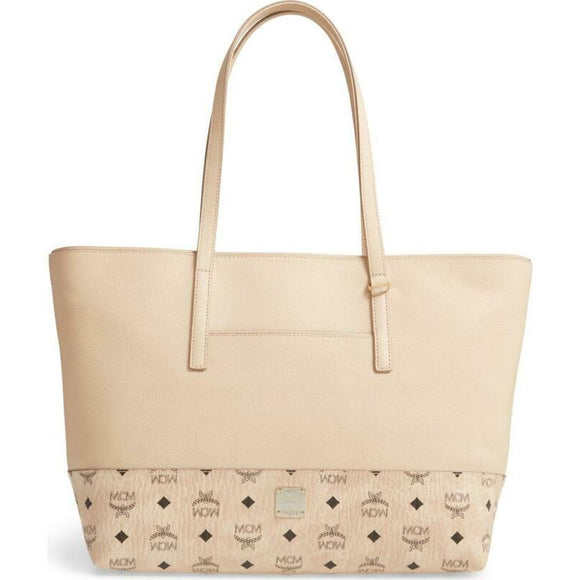 MCM Wilder Visetos Shopper Beige Leather Tote