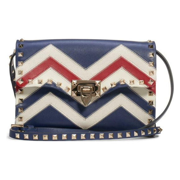 Valentino Shoulder Small Rockstud Blue Leather Cross Body Bag