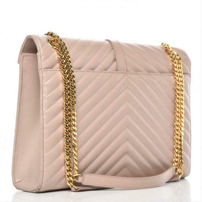 Saint Laurent Envelope Grain De Poudre Matelasse Chevron Large Monogram Satchel