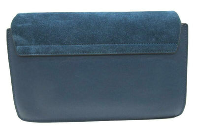 Chloé Faye New Small Majolica Suede Blue Leather Cross Body Bag