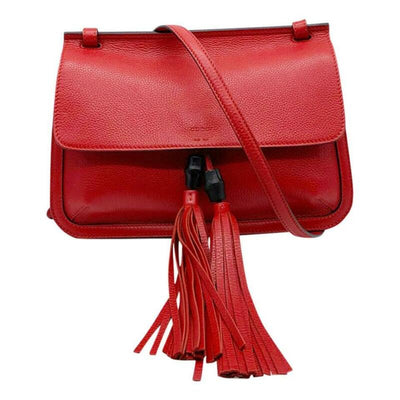 Gucci Medium Bamboo Daily Bright Flame Red Leather Shoulder Bag