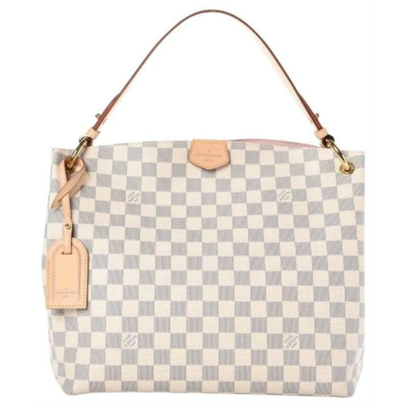 Louis Vuitton Graceful Pm Rose Ballerine White Damier Azur Canvas Hobo Bag