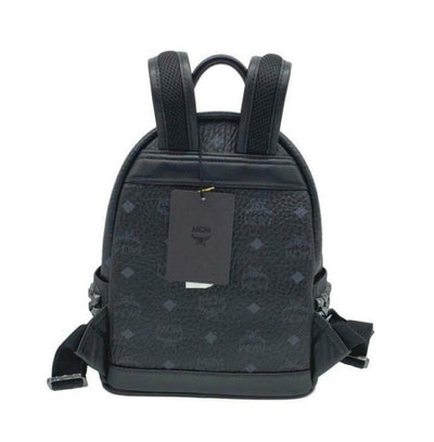 MCM Mini Black Coated Canvas Backpack