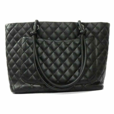 Chanel Cambon Quilted Large Black Calfskin Leather Tote