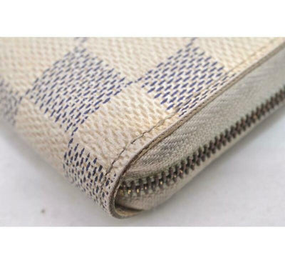 Louis Vuitton White Zippy Coin Purse Damier Azur Wallet
