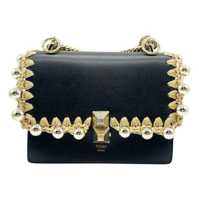 Fendi Small Kan Black Leather Shoulder Bag