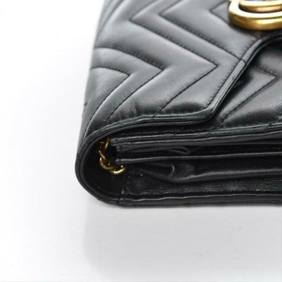 Gucci GG Chain Wallet Marmont Calfskin Black Matelassé Chevron Leather CrossBody