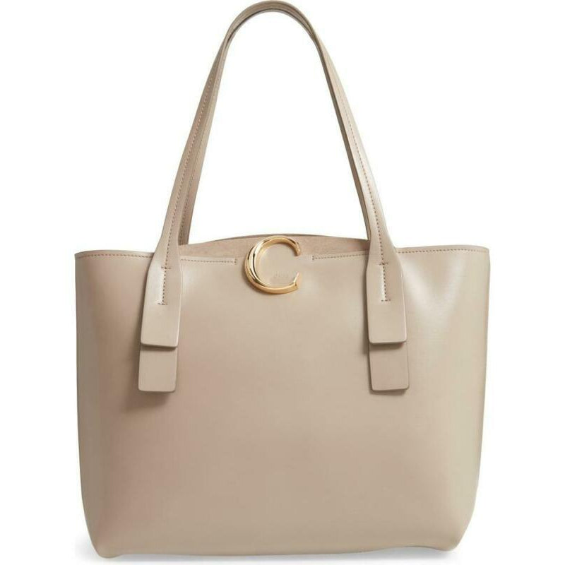 Chloé Medium C Calfskin Beige Leather Tote