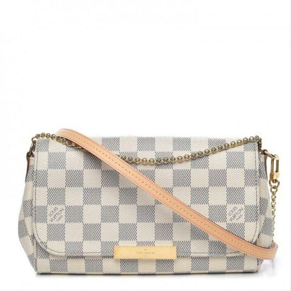 Louis Vuitton Favorite Pm White Damier Azur Canvas Cross Body Bag