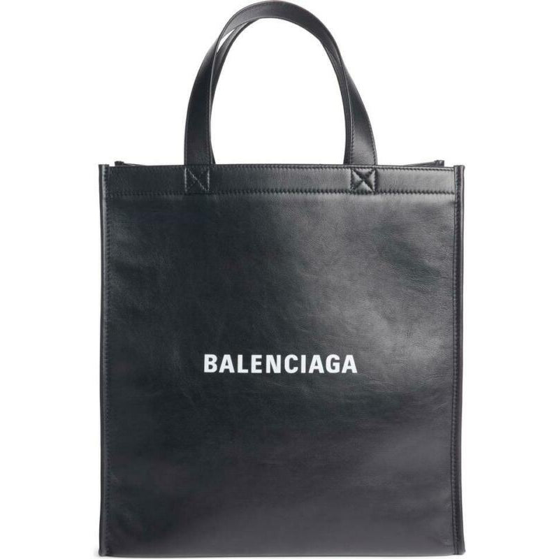 Balenciaga Logo Market Shopper Black Leather Tote